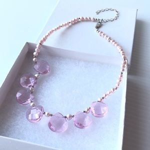 Crystal Sterling Cultured Pearl Necklace